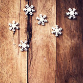 Christmas background with festive ornaments and snowflakes — Stok fotoğraf