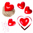 Set of Valentines Day Cards with Red Hearts — Stockfoto