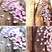 Set of Valentines Day backgrounds with hearts — Stock Photo