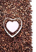Roasted Coffee Beans with Heart Shaped Paper Sticker — Stock Photo
