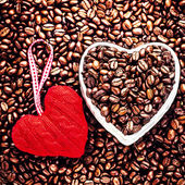 Roasted Coffee Beans with Red Heart — Stock Photo