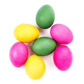 Colorful Easter Eggs isolated on white background close up — Stock Photo