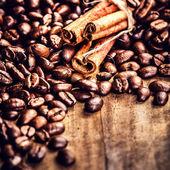 Coffee beans and cinnamon — Stock Photo