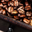 Stock Photo: Roasted coffee beans macro