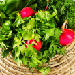 A bunch of fresh vegetables in a bowl wicker basket — Stock Photo #41448141