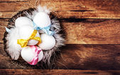 Easter nest with Egg, yellow ribbon — Стоковое фото