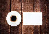 Espresso Coffee cup and blank — Stock Photo