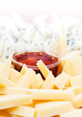 Cheese appetizer with honey — Stock Photo