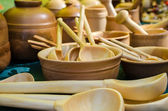 Wooden tableware — Stock Photo