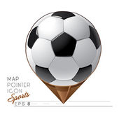 Colorful sports Map pointer icon. Soccer ball. Vector — Stock Vector