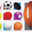 Colorful vector sport balls. map pointer. eps 8 — Stock Vector