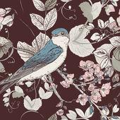无缝花卉背景与鸟 — 图库矢量图片