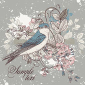 Seamless floral background with bird — 图库矢量图片