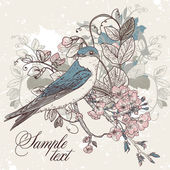 Seamless floral background with bird — Vecteur