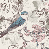 Seamless floral background with bird — Stok Vektör
