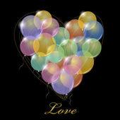 Grote bos van partij balloons.heart vorm. — Stockvector