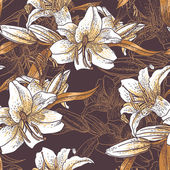 Beautiful seamless pattern with lilies — Stock Vector