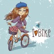 Stock Vector: Pretty girl with bicycle