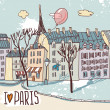 Paris urban sketch — Stock Vector