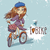 有自行车的漂亮女孩 — 图库矢量图片