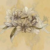 Background with lilies in vintage style — Zdjęcie stockowe