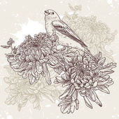 Flowers with bird illustration — Stok Vektör