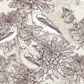 Flowers with bird illustration — Stock Vector