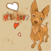 Cartoon vector illustration with dog — Stock Vector