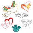 The sign of peace and love - the heart and a dove in his hands — Stock Vector #26614935