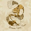Royalty-Free Stock 矢量图片: Dreams Come True Wallpaper with elephant