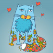 Cat lover , romantic background — Imagen vectorial