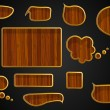 Set of wooden icon set of speech and thought blobs — Stock Vector