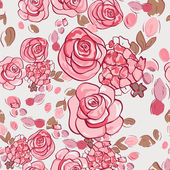 Floral seamless pattern with rose — Stock Vector
