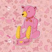 Teddy bear, holiday background — Stock Vector