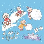 Children playing, winter — Stock Vector
