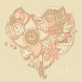 En forma de corazón flor — Vector de stock