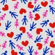 Seamless pattern with hearts and symbols of male and female for Valentine's Day backgrounds romantic seamless pattern — 图库矢量图片