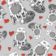 Seamless pattern of the cats romantic seamless pattern — Stock Vector