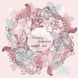 Wallpaper, Stylish circle Vector Wedding Background Frame lace-like vintage — Stock Vector