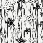 sömlös abstrakta mönster, vågor bakgrund, tapet med sjöstjärna — Stockvektor