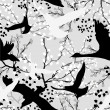 Royalty-Free Stock Vector Image: Seamless pattern with trees and branches black and white abstract pattern with birds
