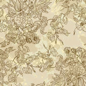 Çiçek desenli sorunsuz, vintage tarzı çiçekli sonsuz doku. duvar kağıdı arka plan. — Stok Vektör