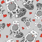 Modèle sans couture du motif chats romantique sans soudure — Vecteur