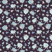 Seamless pattern with funny sheep and hearts — Stock Vector