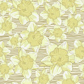 Romantic Flower Background seamless retro floral pattern with daffodils Vector background for textile design — Stock Vector