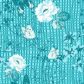 Seamless pattern floreale sullo sfondo della trama della tela — Vettoriale Stock