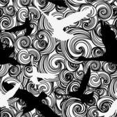 Patrones sin fisuras con árboles y ramas blanco y negro patrón abstracto con pájaros — Vector de stock