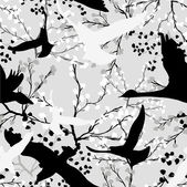 Seamless pattern with trees and branches black and white abstract pattern with birds — Stock Vector