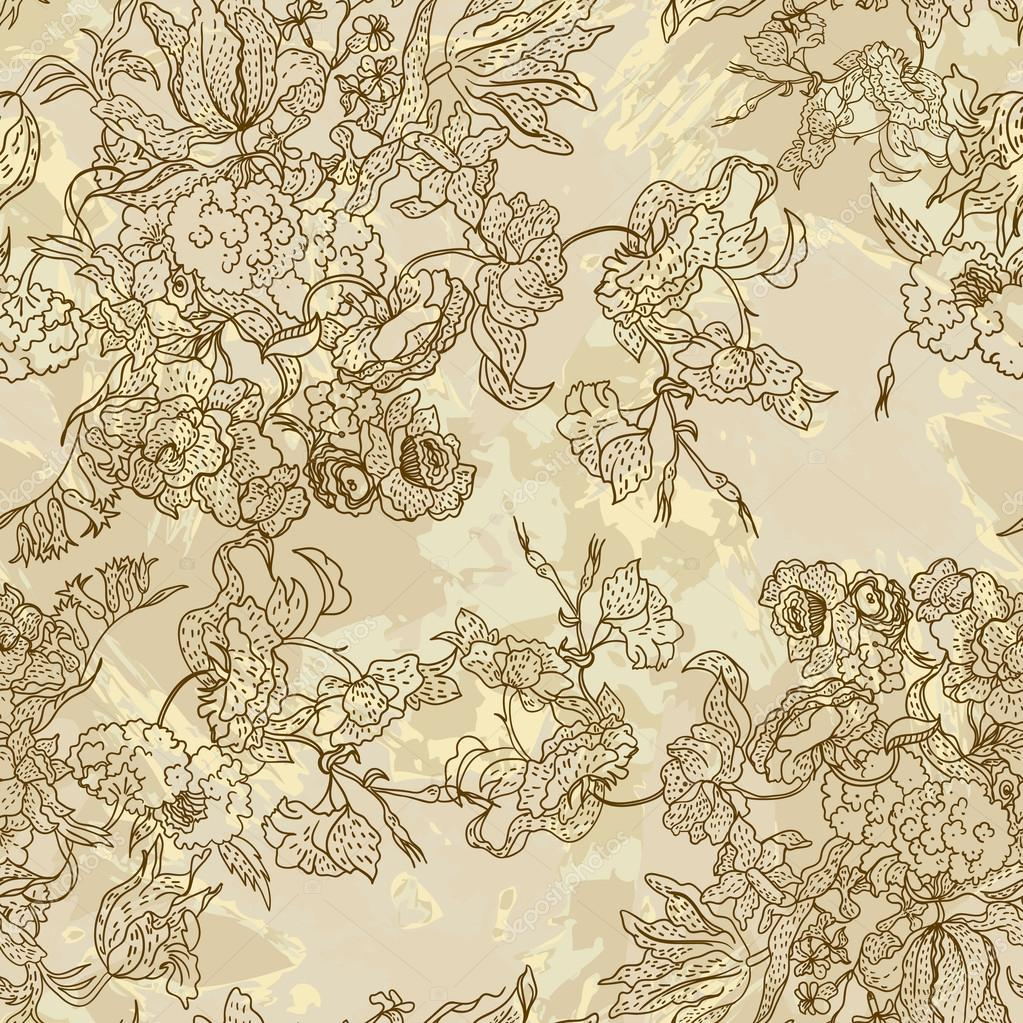 floral seamless pattern endless texture with flowers in