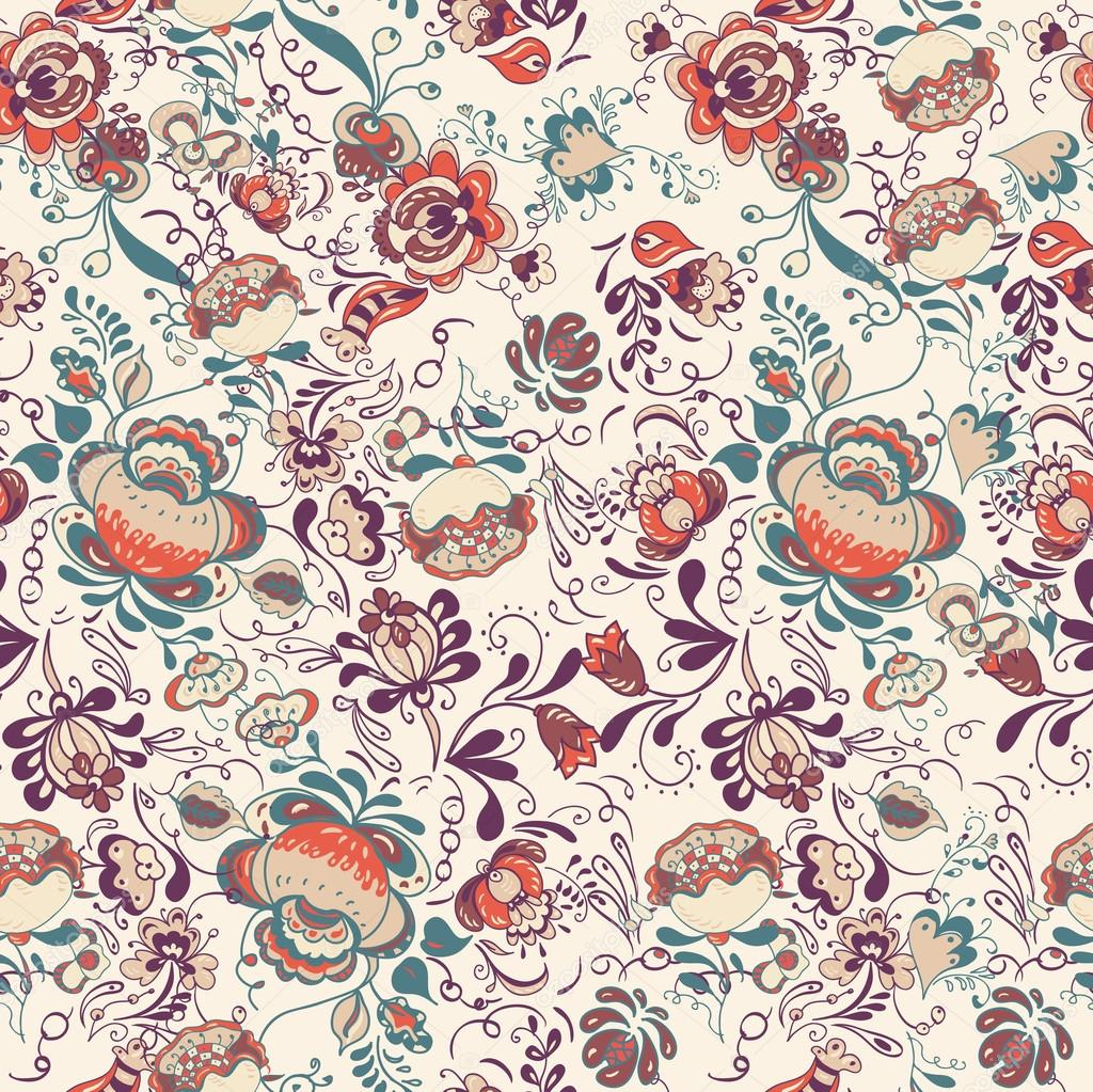 Floral seamless pattern, endless texture with flowers in vintage ...